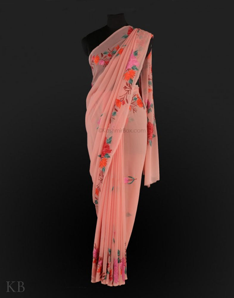 Peachy Floral Aari Embroidered Saree