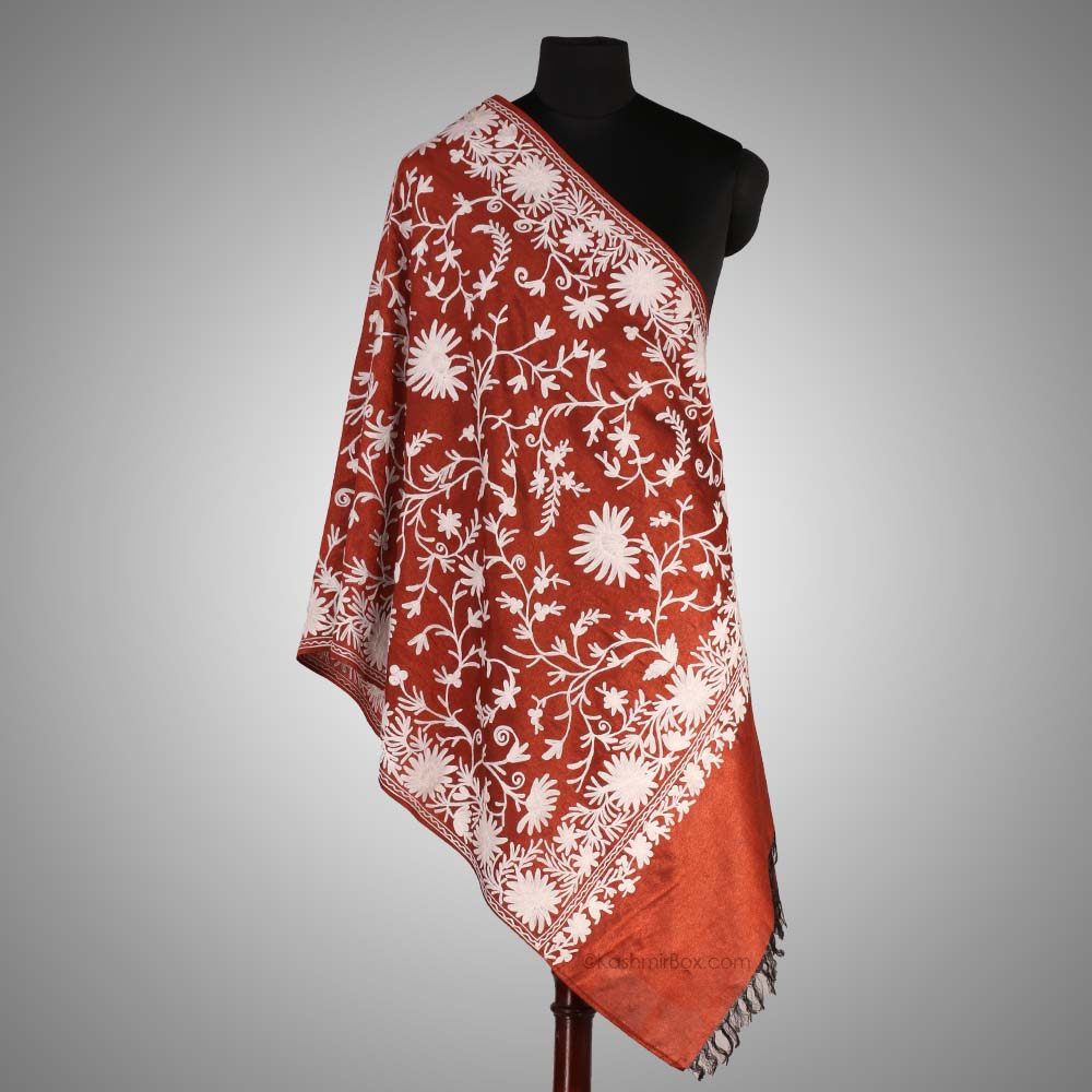 Red Aari Embroidered Silk Stole