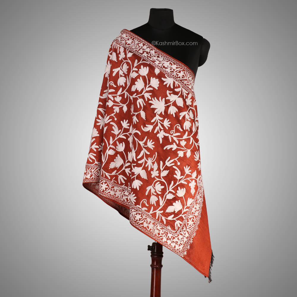 Orange Aari Embroidered Silk Stole