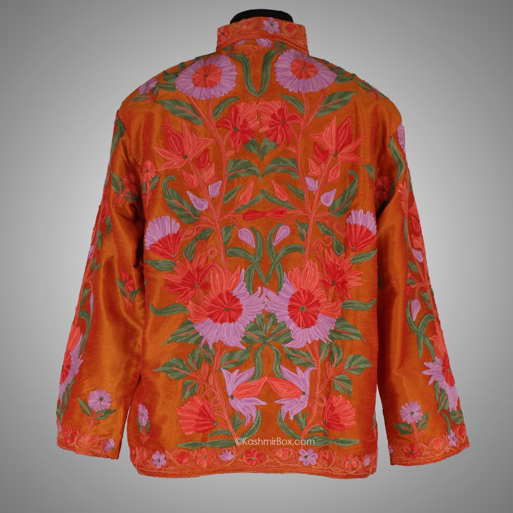 Orange Aari Silk Short Jacket