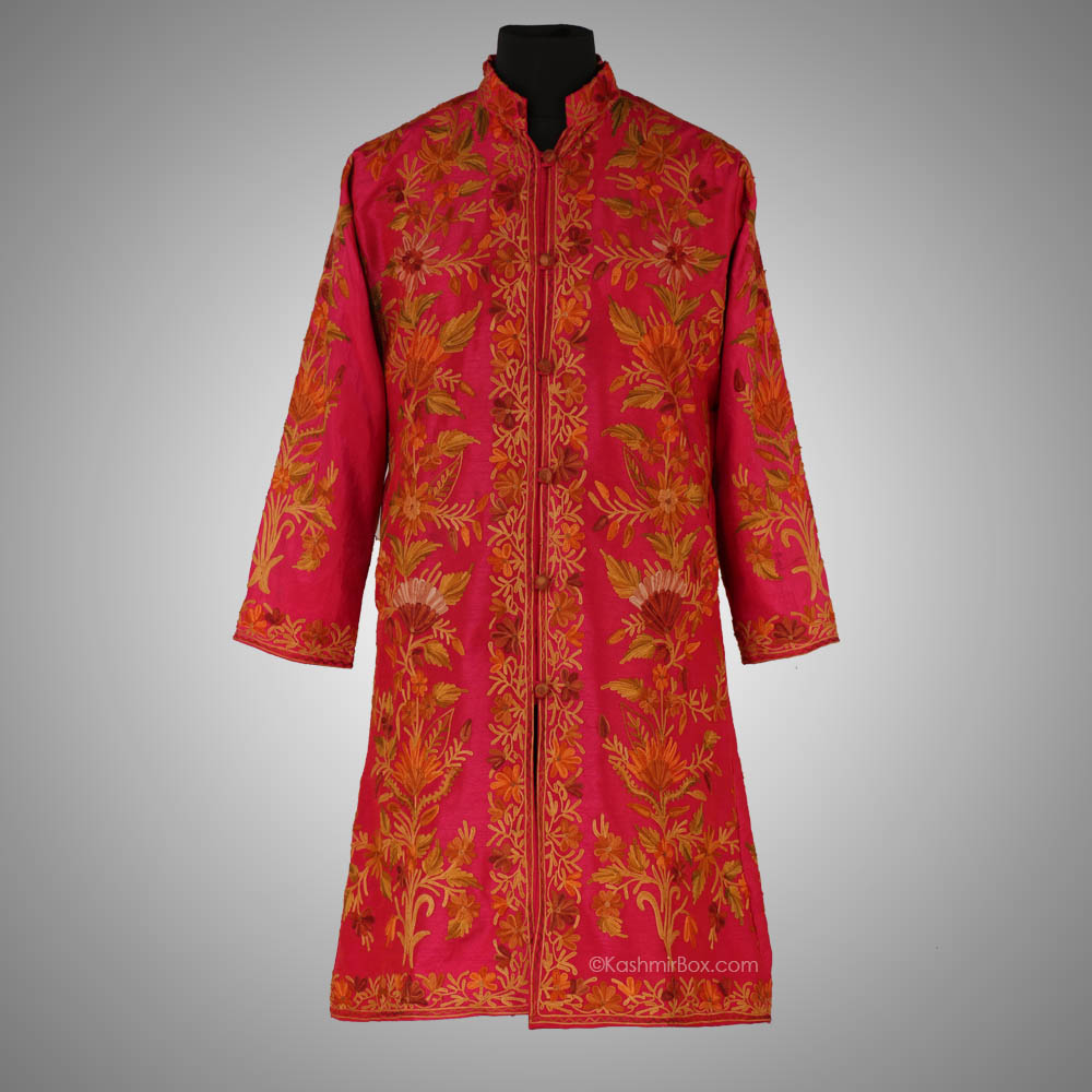 Pink Floral Aari Long Jacket