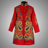 Red Aari Embroidered Silk Jacket