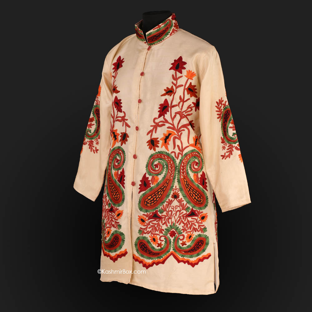 Cream Aari Embroidered Silk Jacket