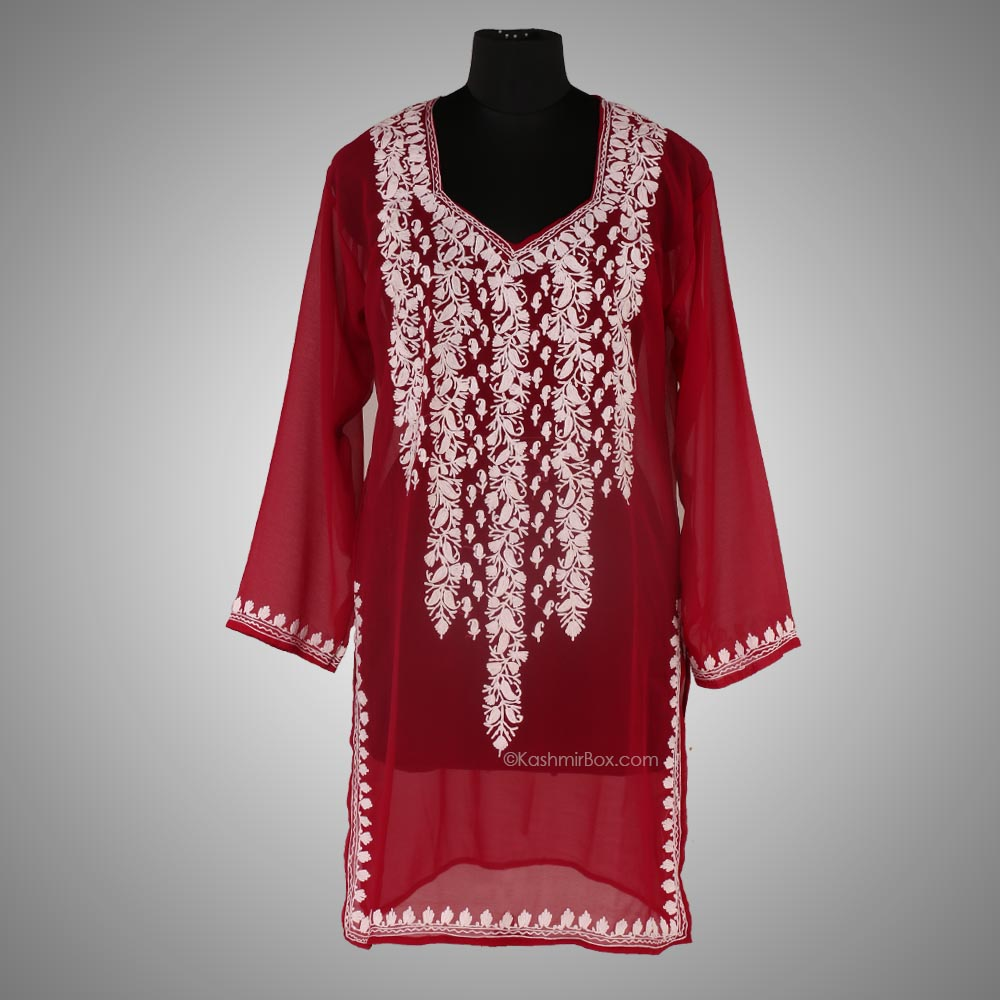 Maroon Aari Embroidered Georgette Kurti - Kashmir Box