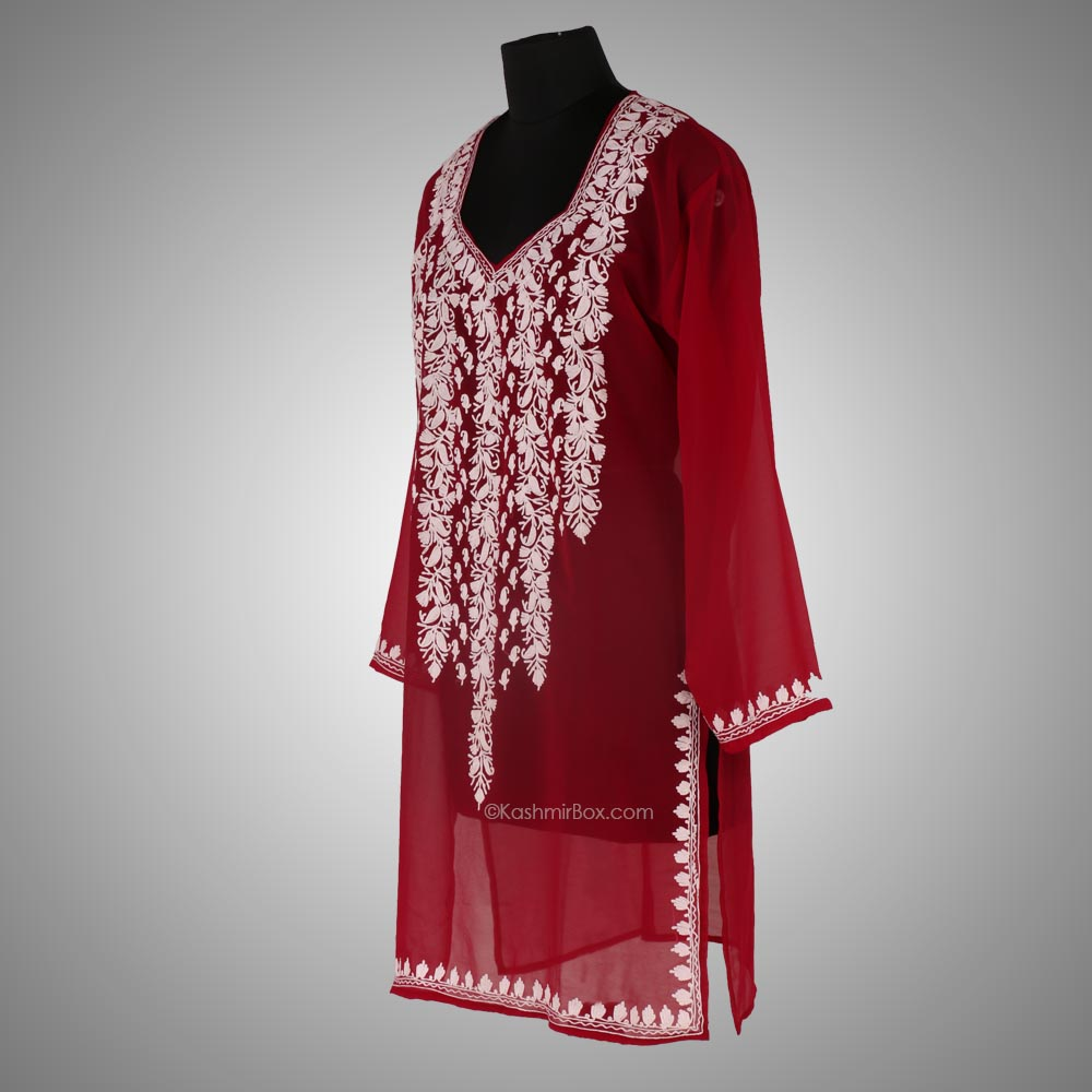 Maroon Aari Embroidered Georgette Kurti