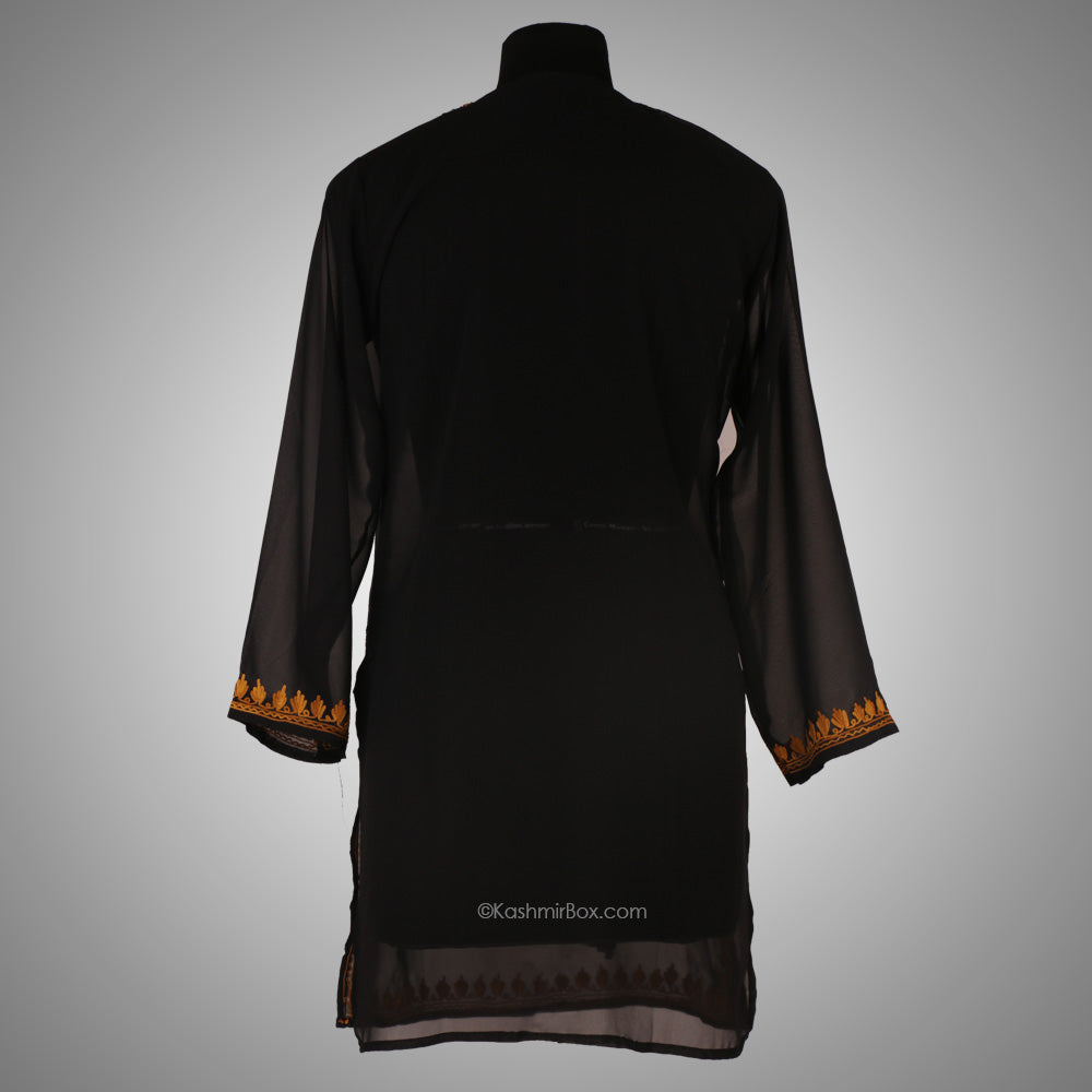 Black Aari Embroidered Georgette Kurti