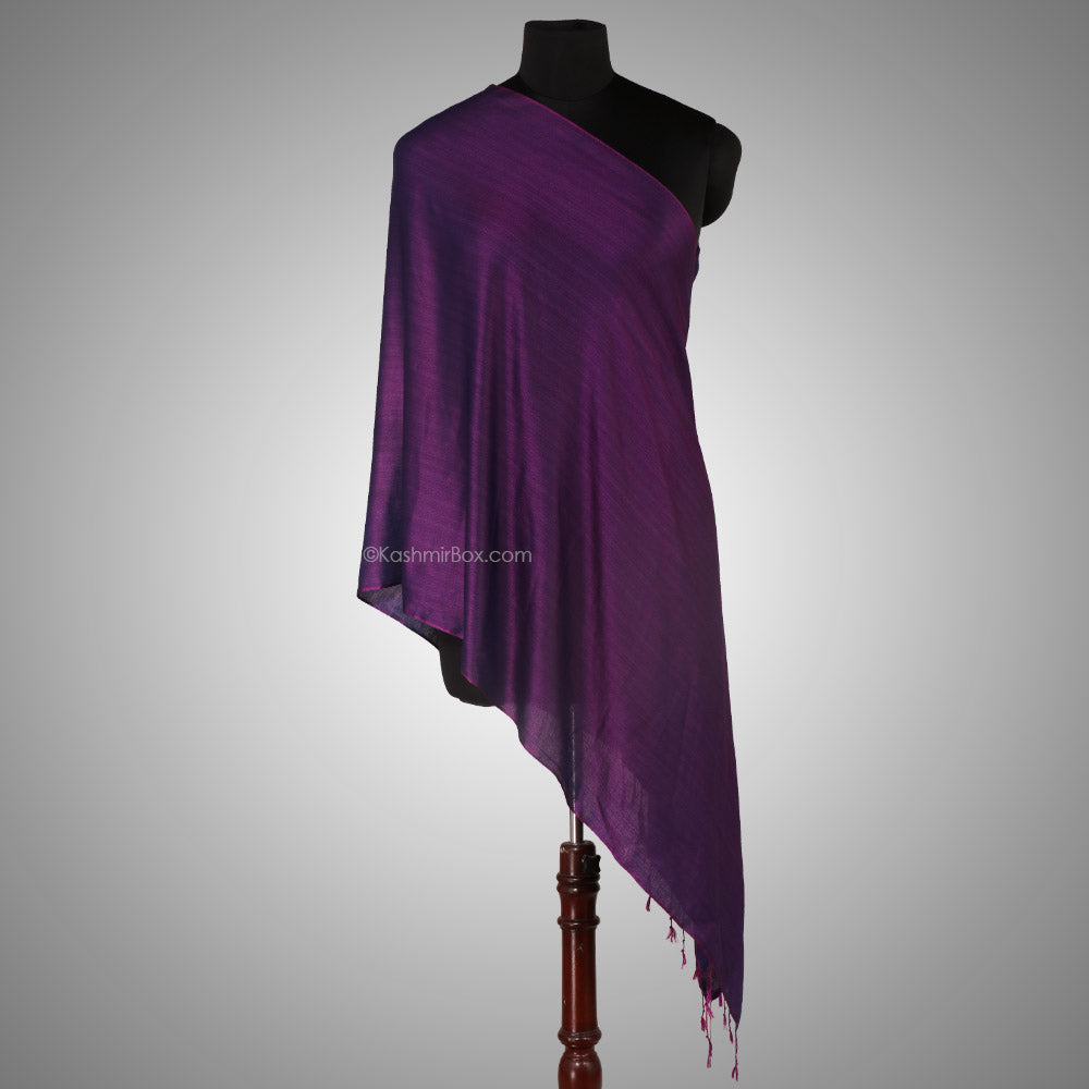 Deep Purple Katan Silk Stole - Kashmir Box