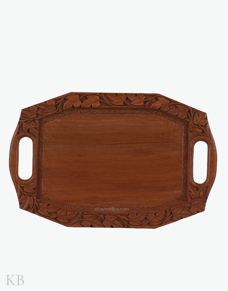 Walnut Wood Chinar Leaf Tray