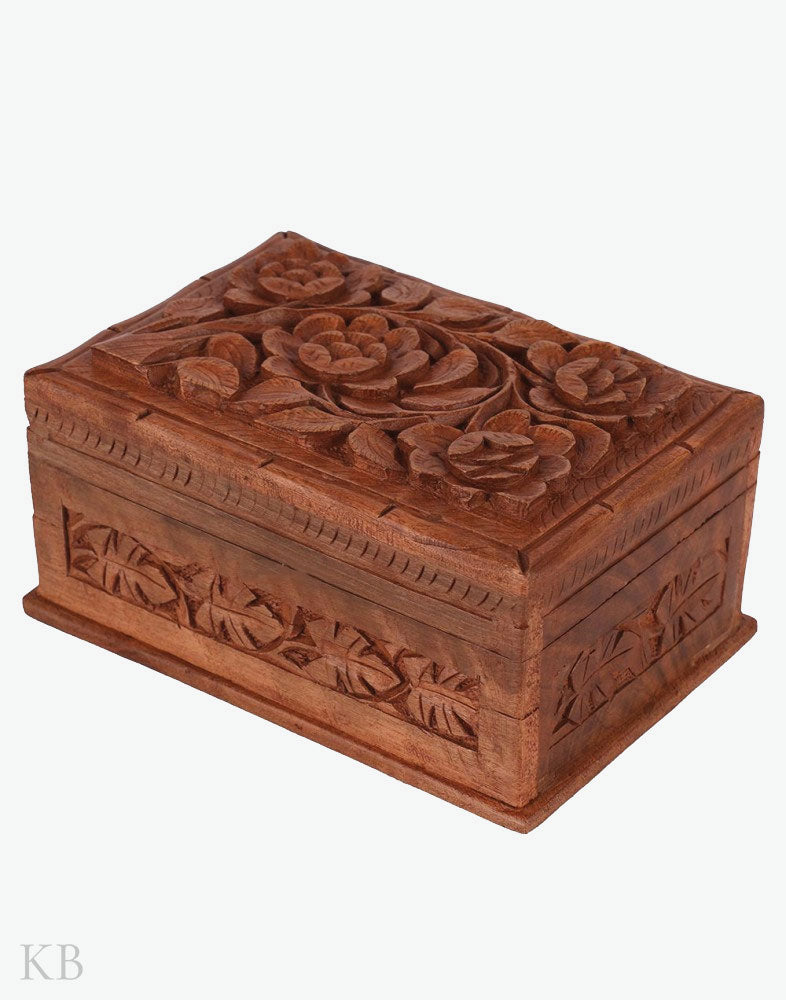 Walnut Wood Rose Storage Box - Kashmir Box