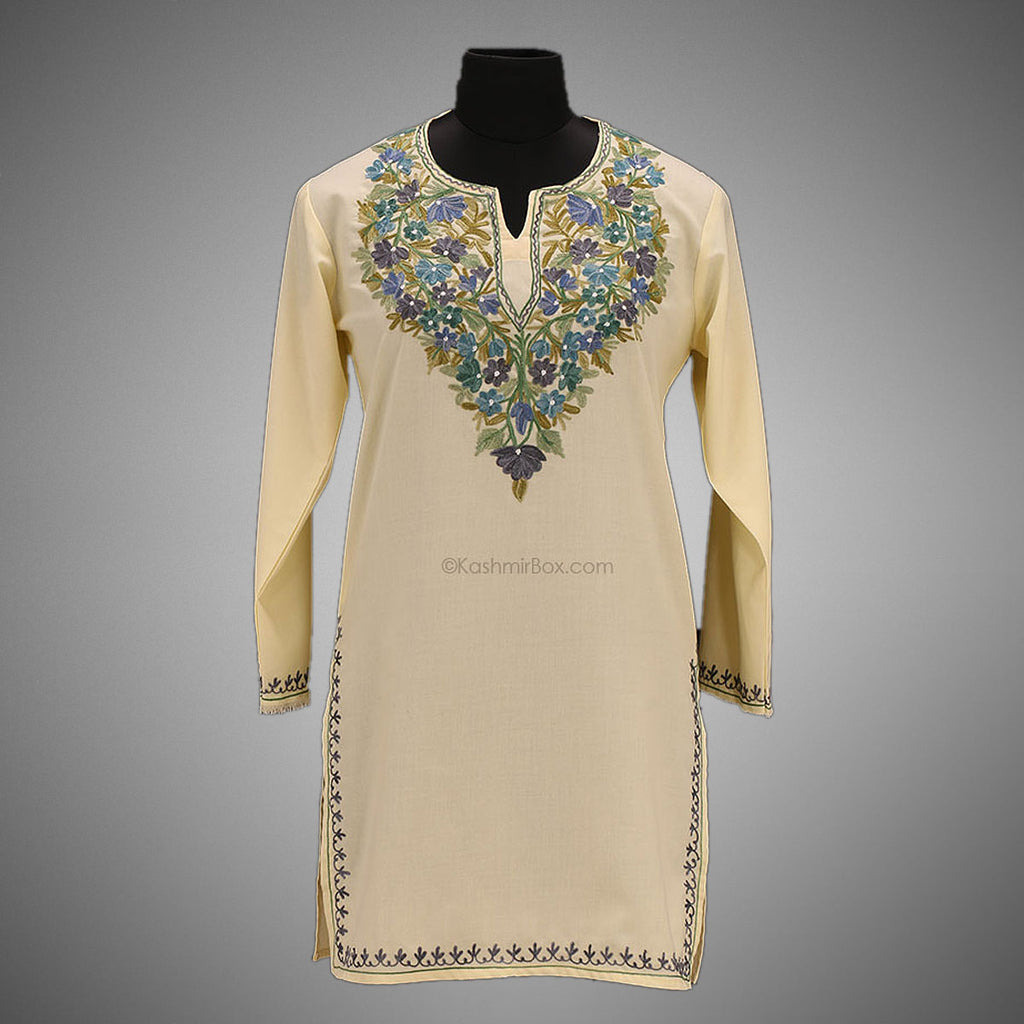 Lemon Yellow Embroidered Kurti