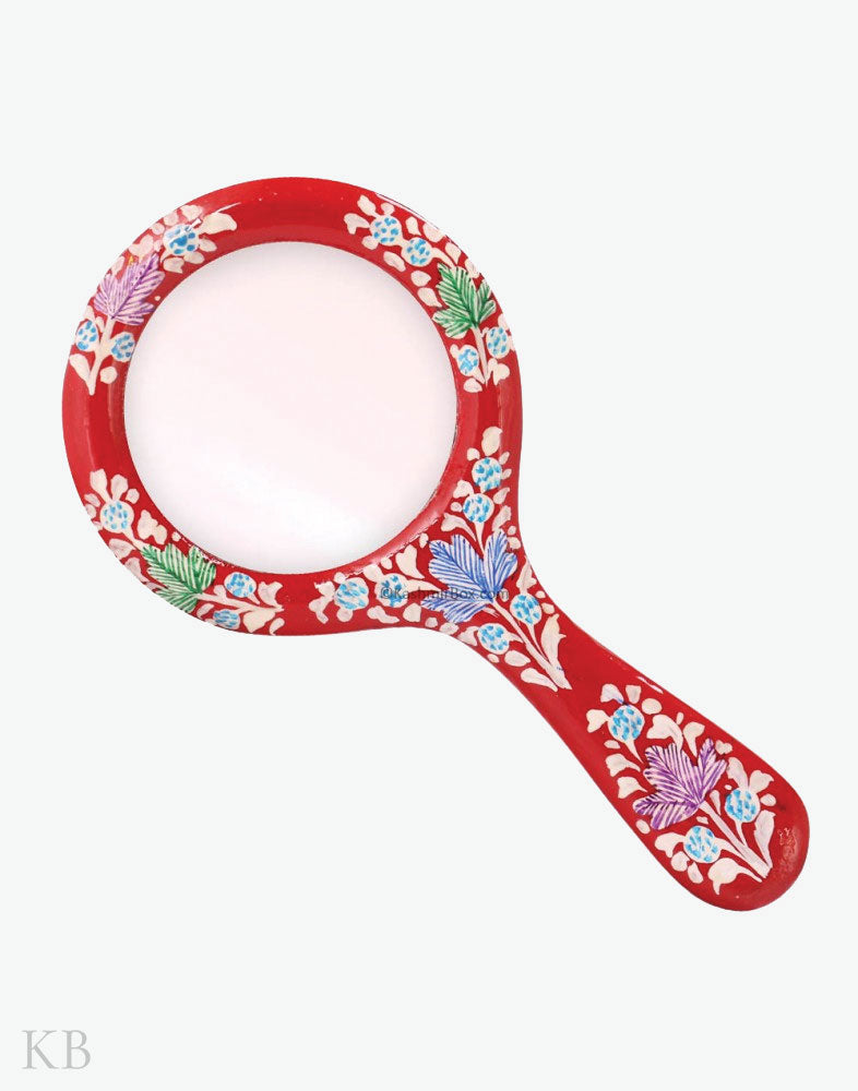 Red Floral Hand Mirror