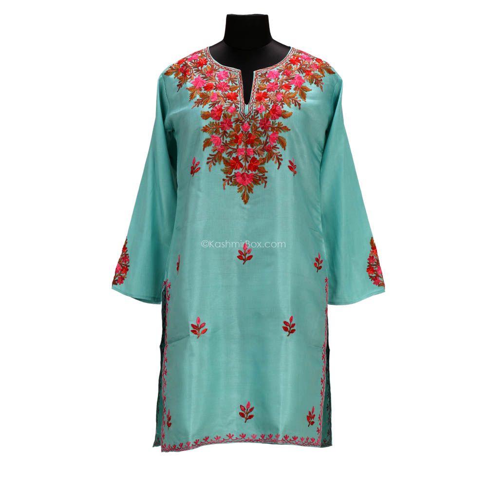 Sea Green Silk Cotton Kurti