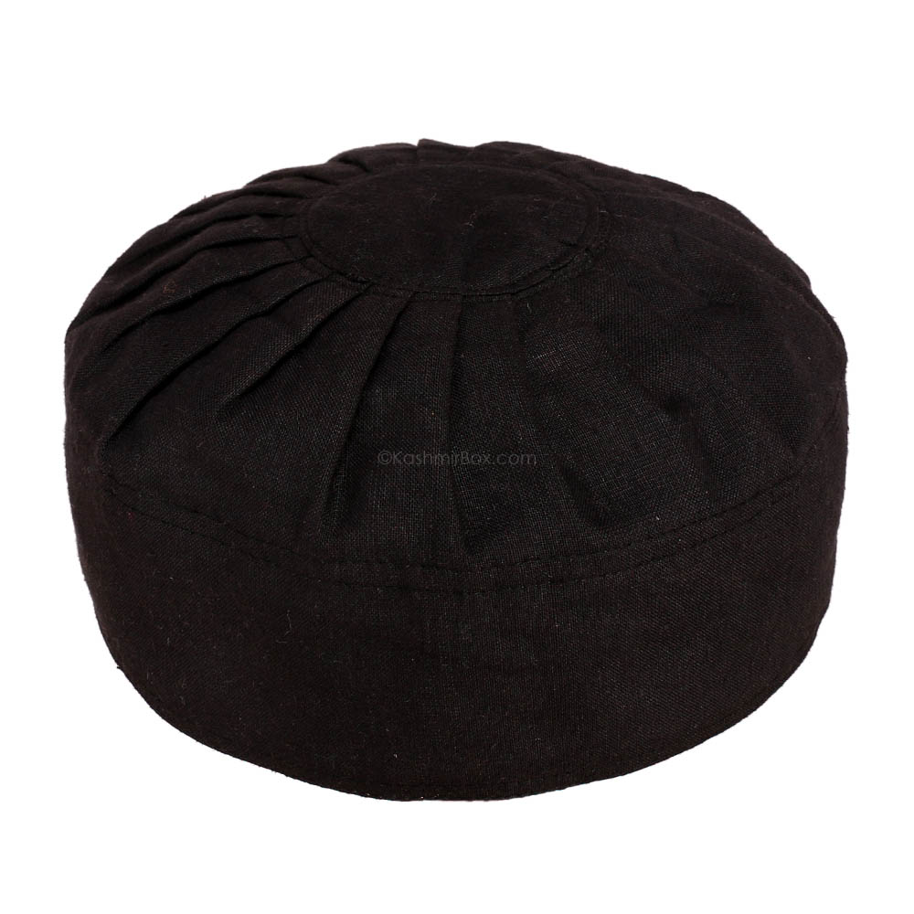 Black Cotton Round Cap