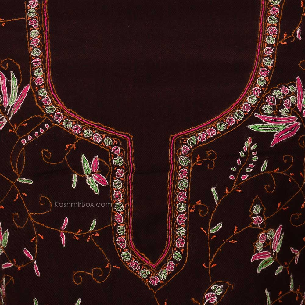 Brown Floral Sozni Woolen Suit