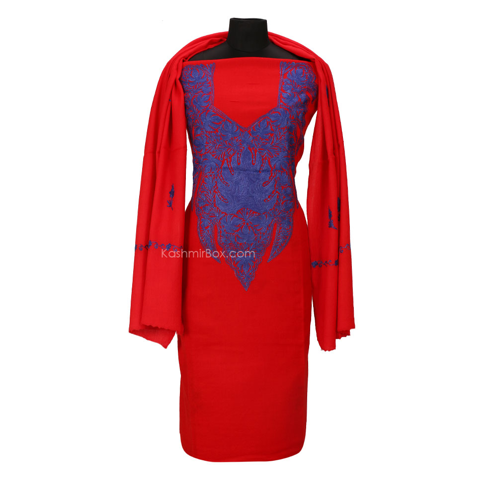 Red Aari Embroidered Woolen Suit