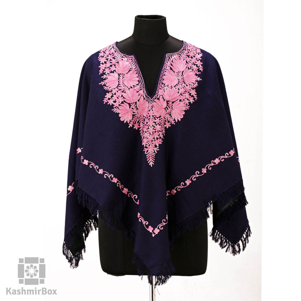 Navy Blue Aari Embroidered Poncho