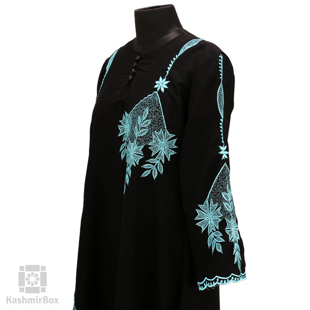 Turquoise Flower Patch Black Abaya