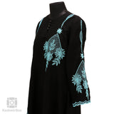 Turquoise Flower Patch Black Abaya - KashmirBox.com