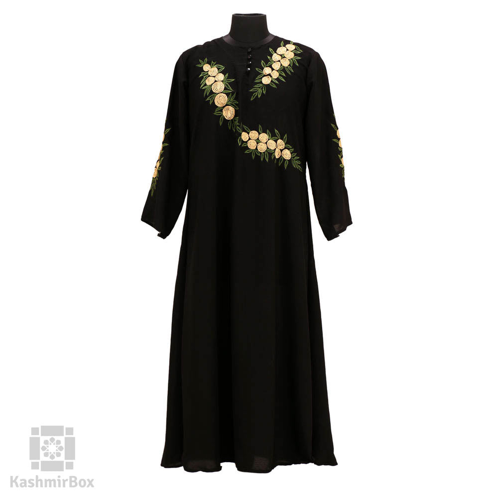 Spiral Floral Black Embroidered Abaya