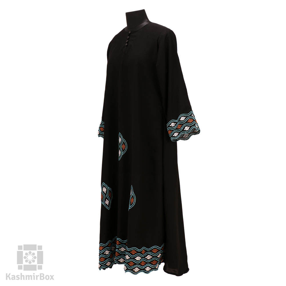 Black Waves Embroidered Abaya