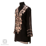 Black Neck Embroidered Georgette Kurti - Kashmir Box