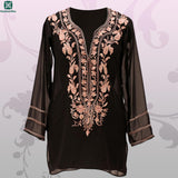 Black Neck Embroidered Georgette Kurti