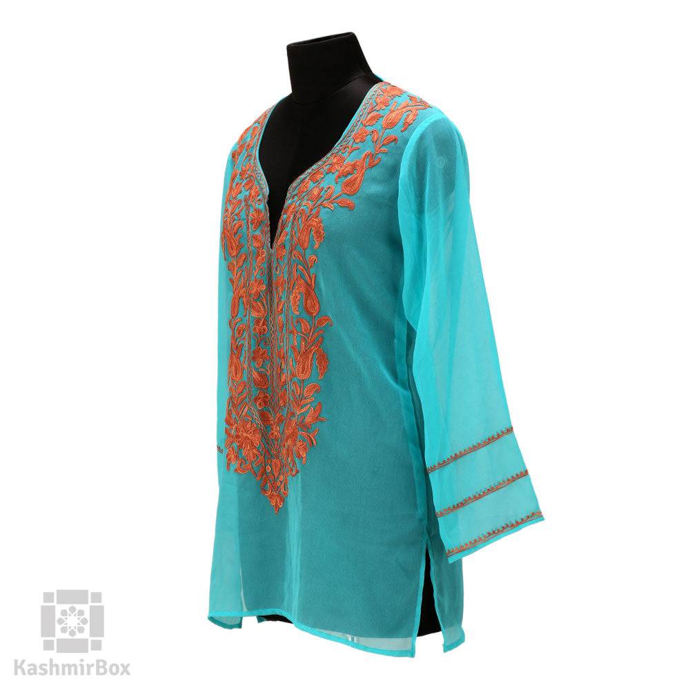 Turquoise Neck Embroidered Georgette Kurti