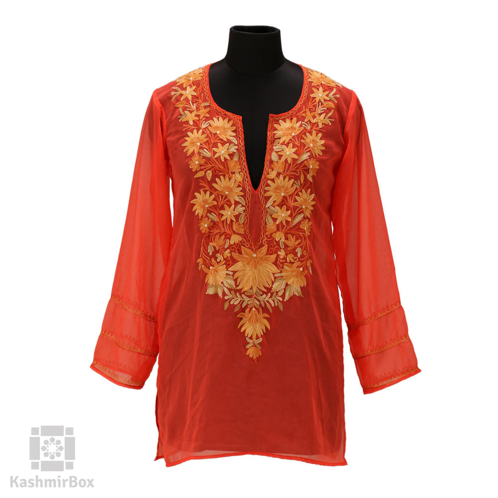 Peach Neck Embroidered Georgette Kurti - Kashmir Box