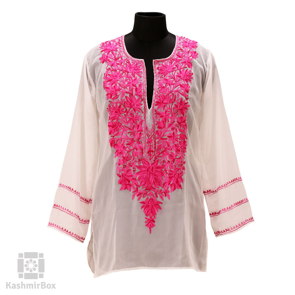 White Neck Embroidered Georgette Kurti - Kashmir Box