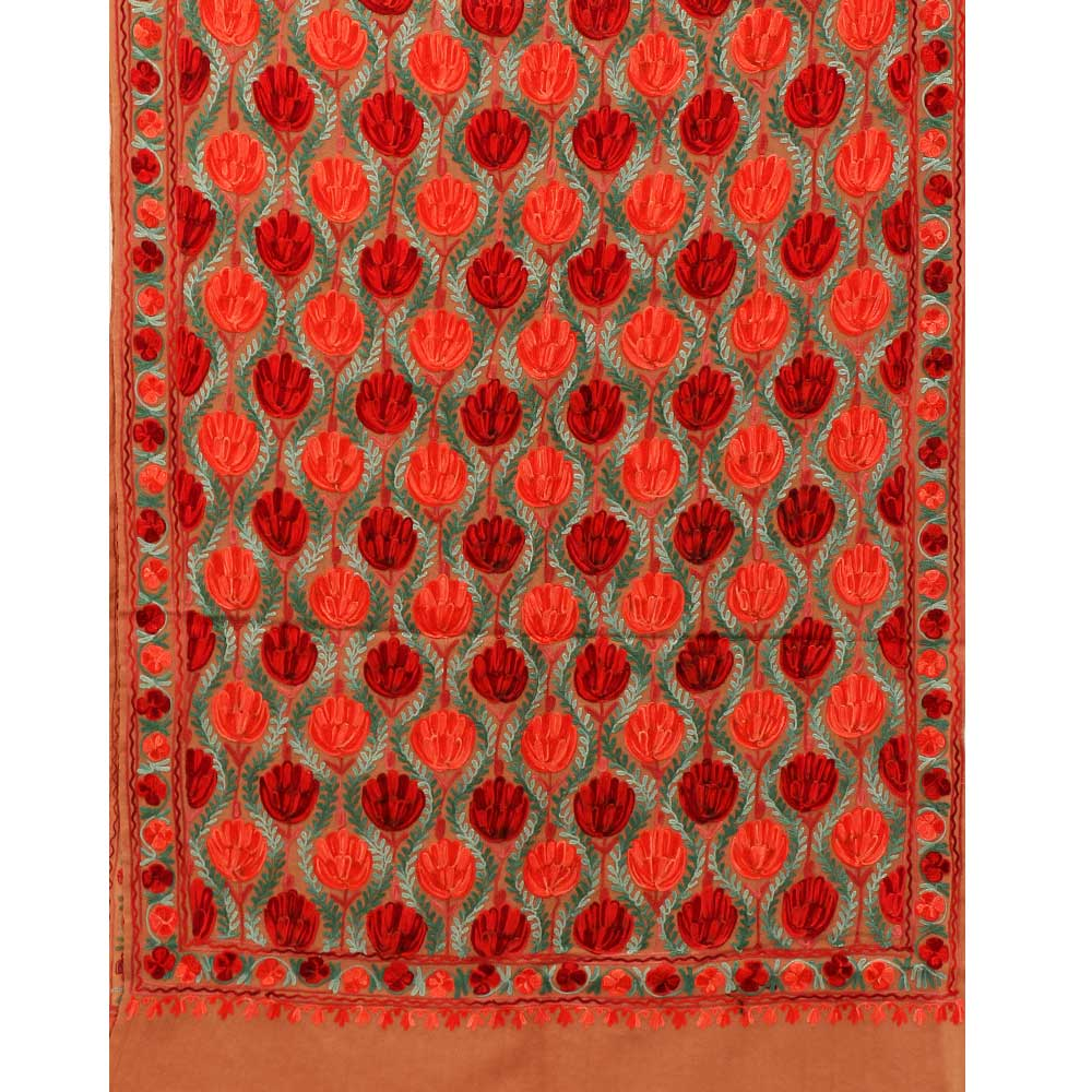 Camel Brown Tulip Embroidered Stole - Kashmir Box