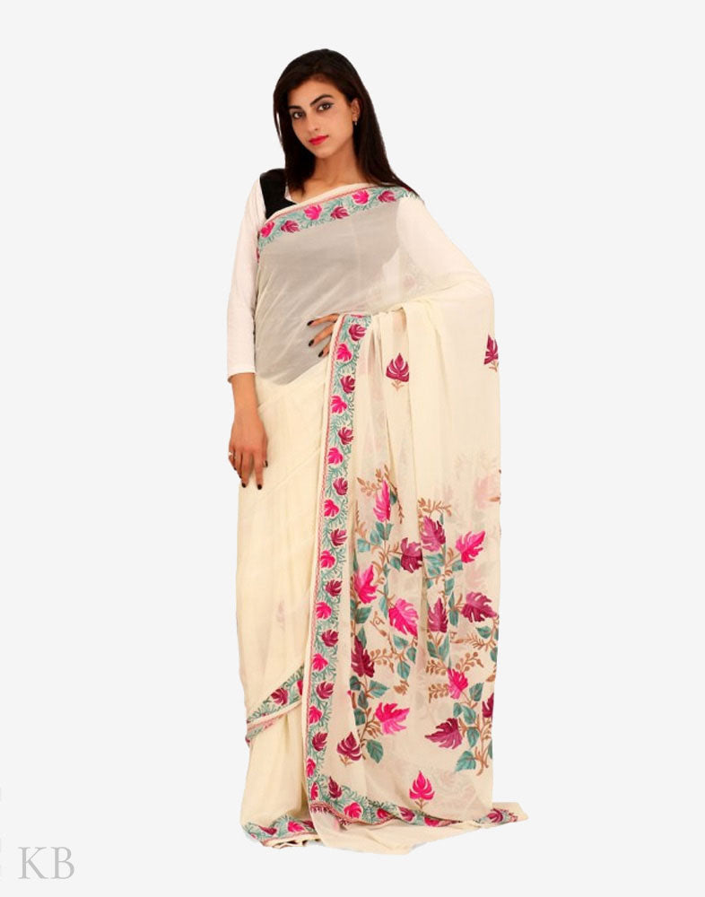 Off White Chinar Aari Georgette Saree - Kashmir Box