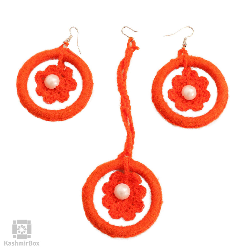 Orange Artsy Earrings and tika