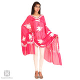 Hot Pink Chiffon Embroidered Dupatta