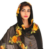 Black Chiffon Embroidered Dupatta - Kashmir Box