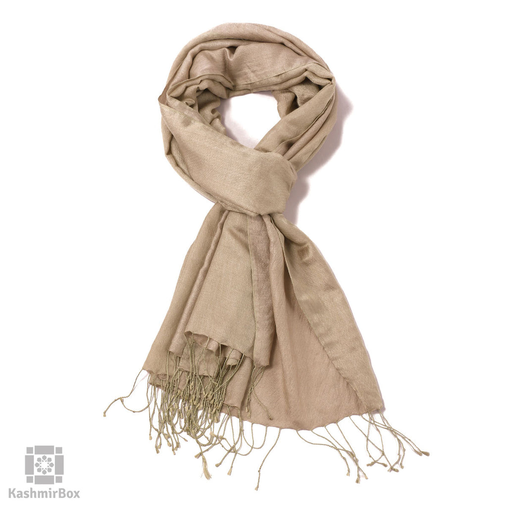Tan Self Pattern Katan Silk Stole - KashmirBox.com