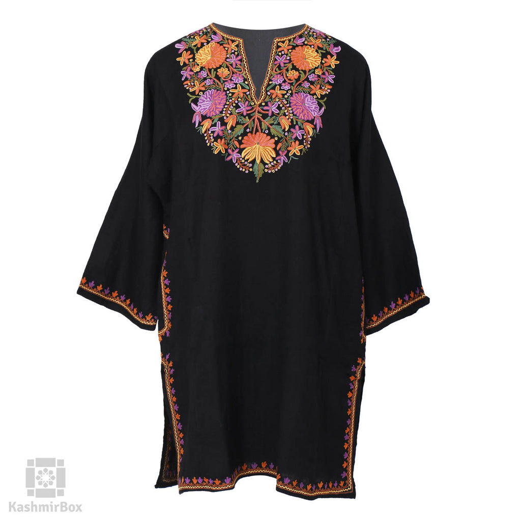 Night Black Floral Vine Embroidered Woolen Phiran