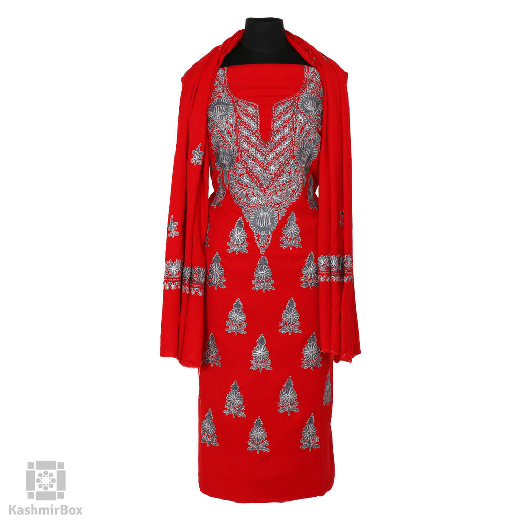 Red Floral Paisley Embroidered Woolen Suit