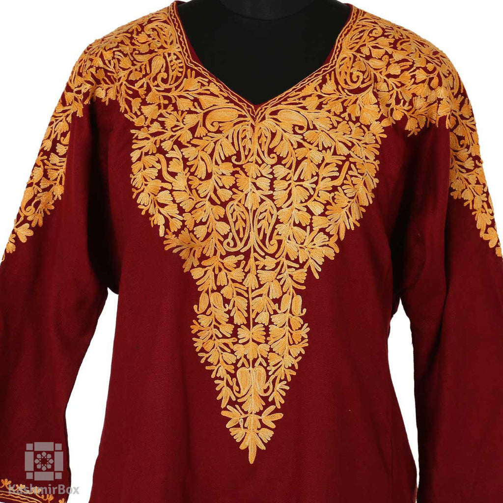 Deep Maroon Paisley Floral Embroidered  Phiran