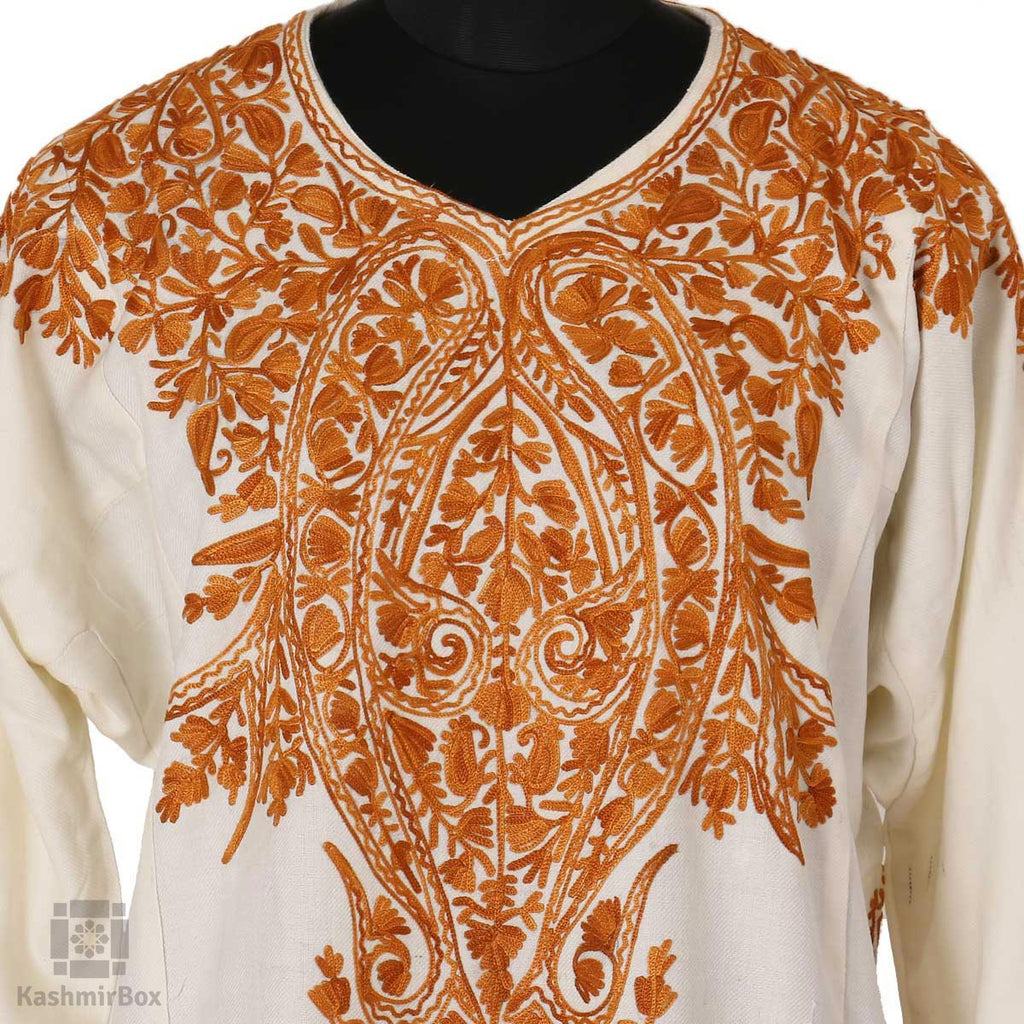 White Brown Paisley Embroidered Phiran - Kashmir Box