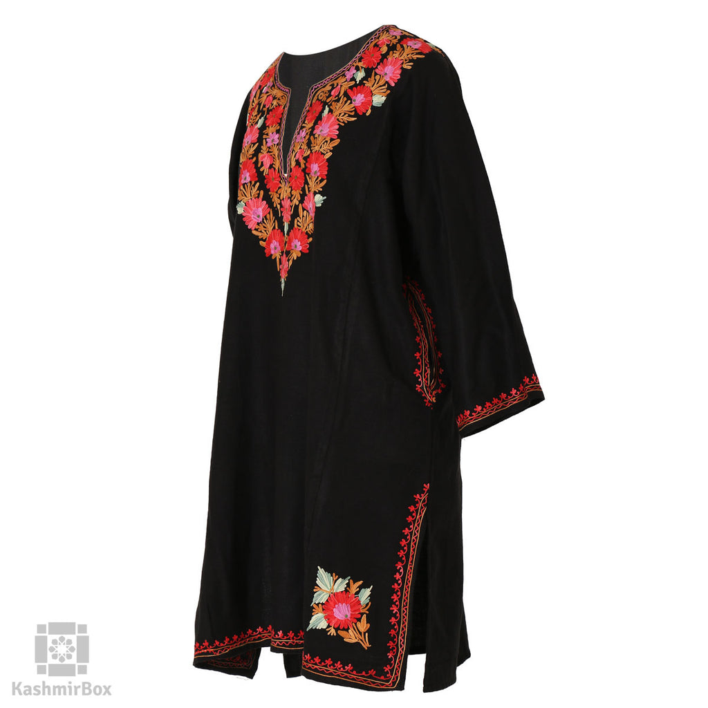 Black Pink Floral Embroidered Phiran