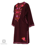Plum Purple Flowery Embroidered Phiran