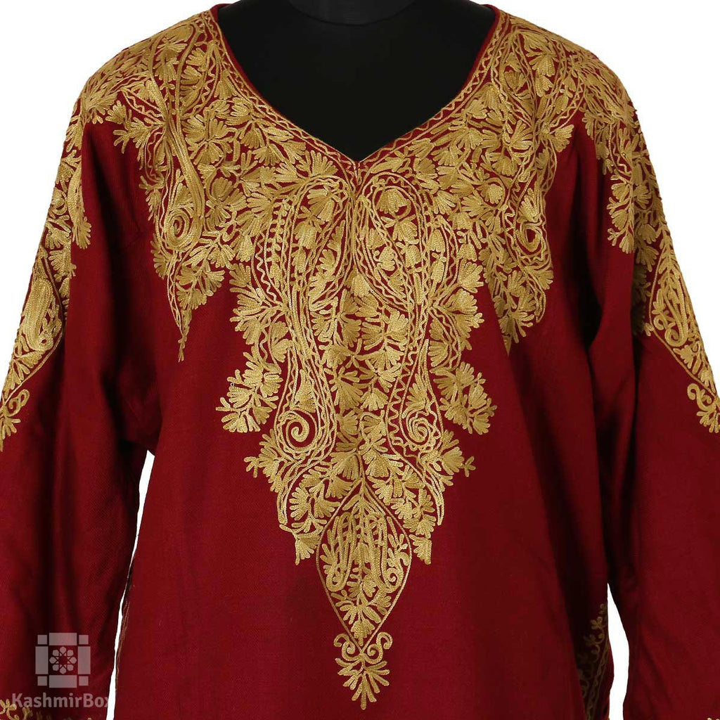 Blood Red Paisley Embroidered Phiran