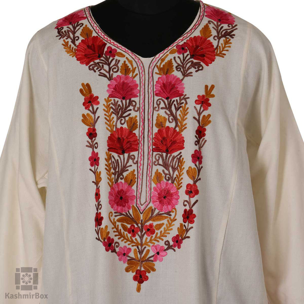 Pure White Floral Embroidered Phiran