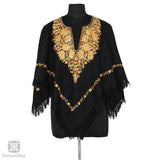 Black Mustard Lotus Embroidered Wool Poncho