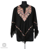 Black Lotus Embroidered Wool Poncho