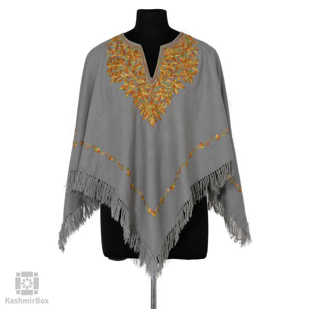 Grey Floral Embroidered Woolen Poncho