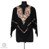 Black Pink Floral Embroidered Woolen Poncho