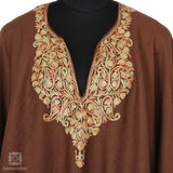 Clay Brown Paisley Embroidered Poncho