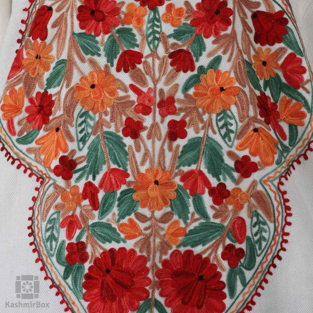 White Floral Vine Embroidered Phiran