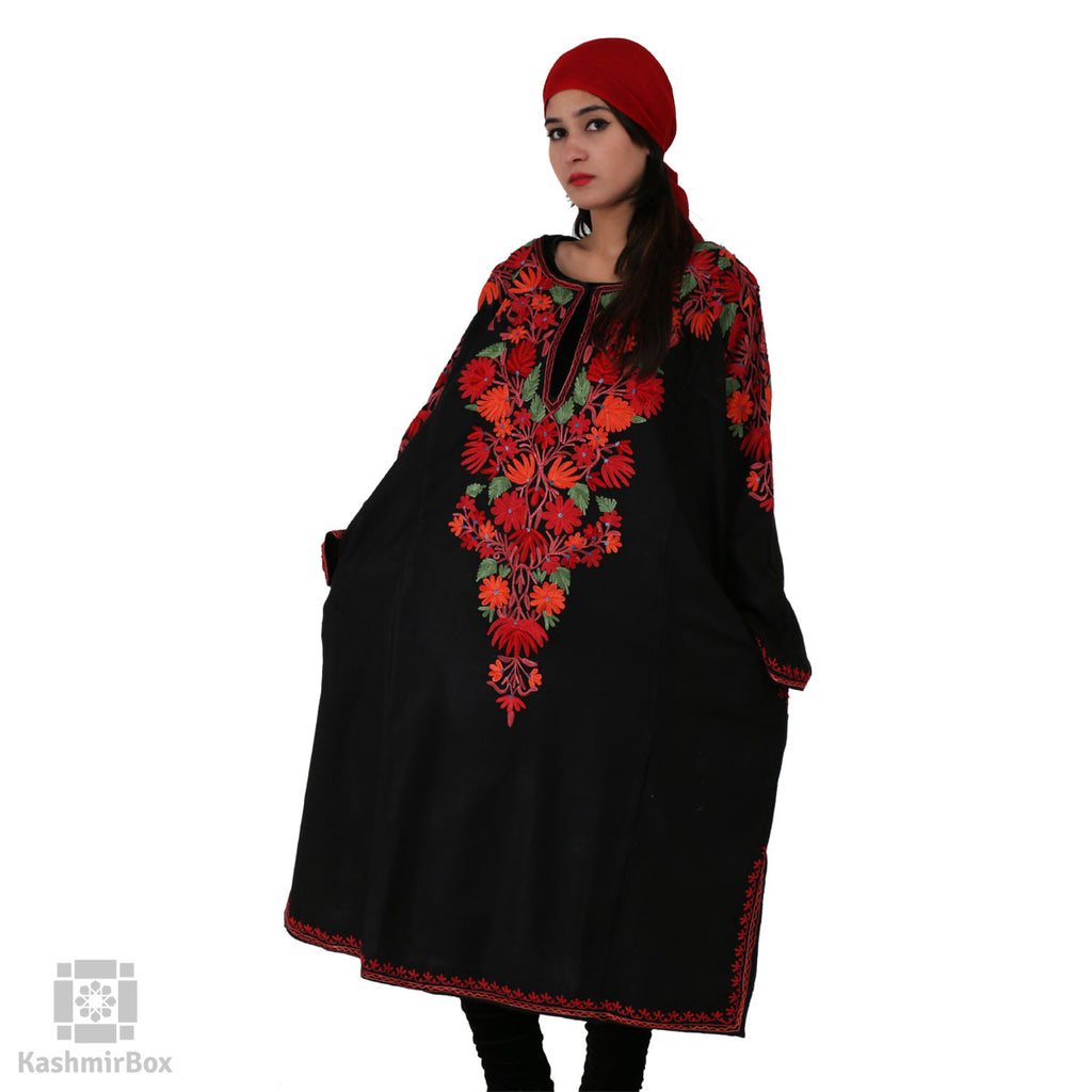 Black Flowery Embroidered Phiran - KashmirBox.com